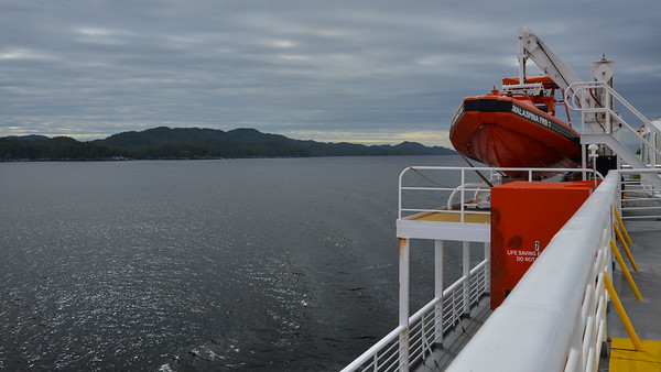 The waters are pretty calm on the Inside passage, but not always, which is why the ferries carry lifeboats.