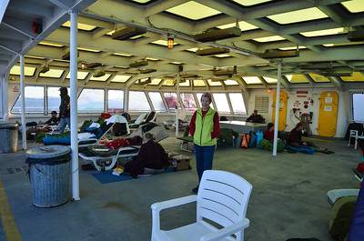 After dinner, it was a tour of the boat.  This is the heated solarium for sleeping and living if you don't have a cabin.