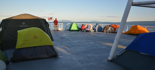 """If you want some additional privacy, duct tape your tent to the floor of the deck and enjoy the continual """"breeze."""""""