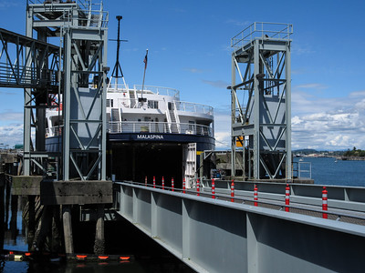 We are getting on the MV Malaspina, instead of the Columbia, which was in Portland for repairs.
