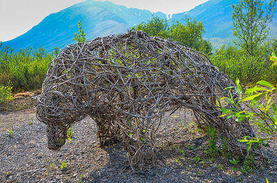 The coolest thing on the walk was this bear woven out of some sort of tree branches.  Willows?
