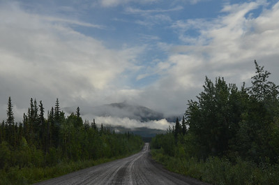 After 25 miles or so, we get on the Dempster Highway, a multi hundred mile gravel road to the northern Yukon Territory.  But we only have to go about 40 miles.