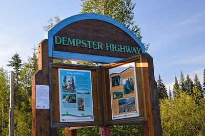 The official sign saying Yes, you are on the Dempster Highway.  This photo was taken later in the trip.