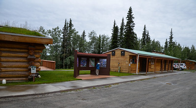85 miles from Tok is the Tetlin Nat'l Wildlife Refuge Visitor center.  We stopped here for a break and to look around, despite the rain.  The break from the frost heaves and bad road was welcome.