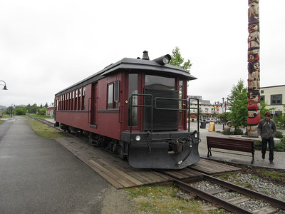Along the greenway in Whitehorse, there is a little trolly people ride for tours.