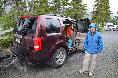 The next morning, we are leaving for Whitehorse, only about 160 miles away.  Guess what - it's raining.