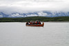 We board a 10 person canoe to see Davidson Glacier