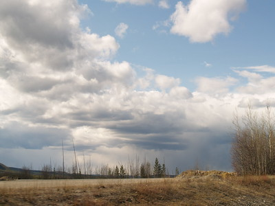 This was outside of Whitehorse, Yukon Territory. See the original road in the foreground? No leaves on the trees quite yet in mid- to late May.