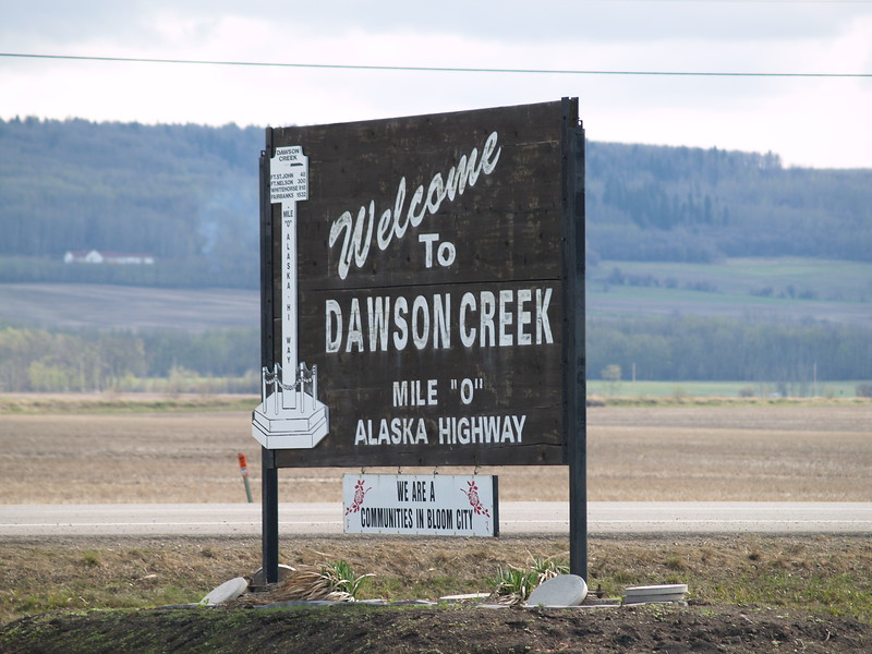 We stopped at the small airport outside of Dawson Creek to find a restroom. Eventually, we just drove into town.