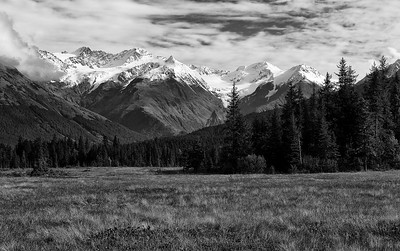 Alaksa Mountains in Black and White