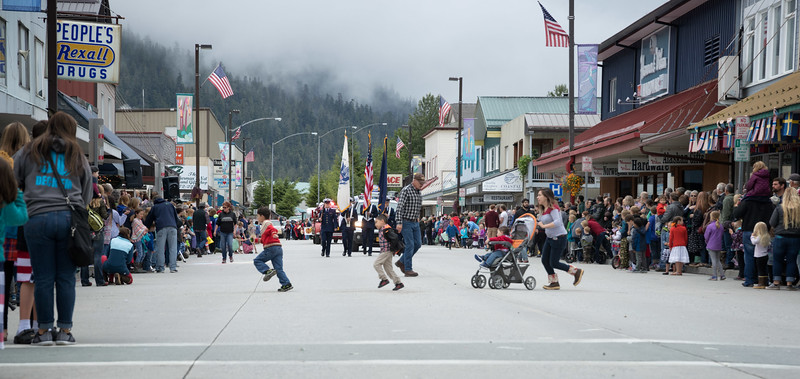 Fourth of July Parade, Petersburg, Alaska - running to beat the parade