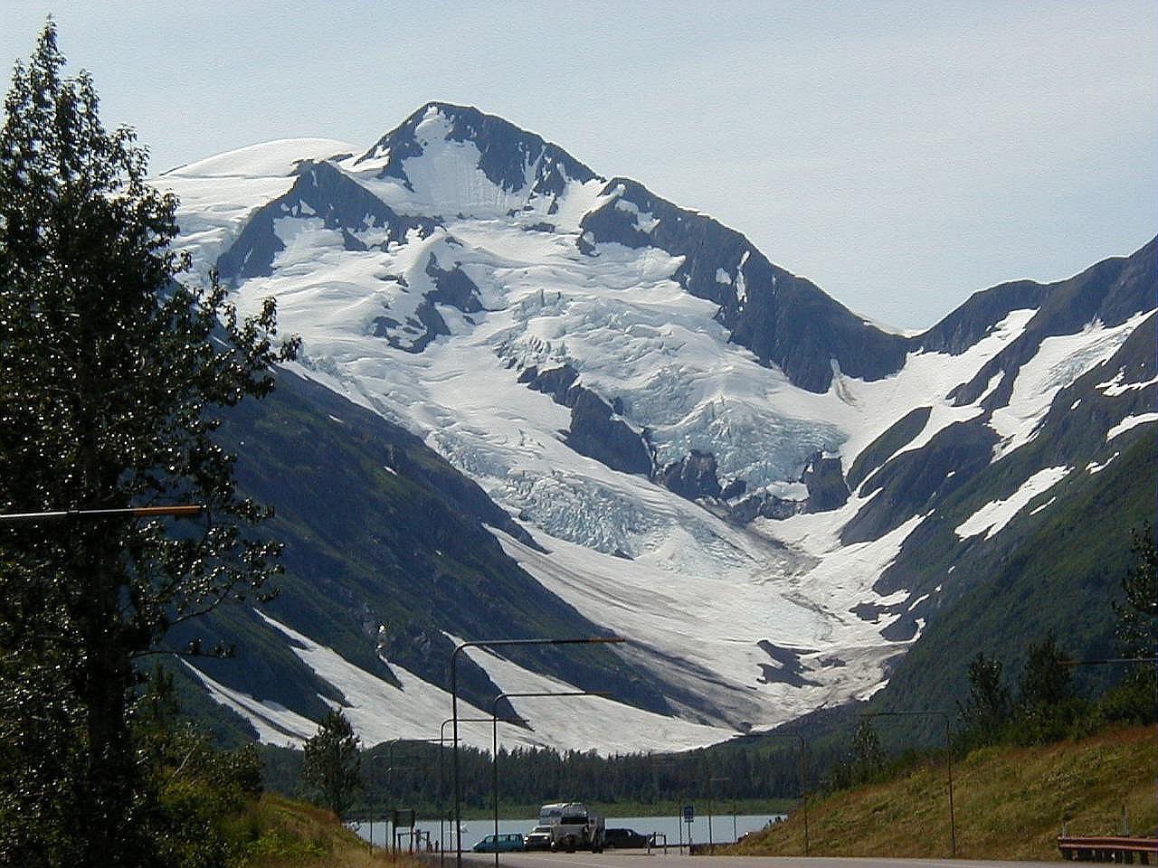 Byron Glacier in Portage Valley, over Portage Lake.