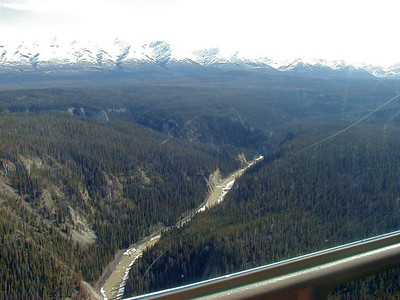 Looking down from the helicopter at the Kuskalana River just upstream of the trestle.