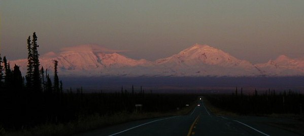 Alpenglow on the Wrangells, as viewed from MP177.