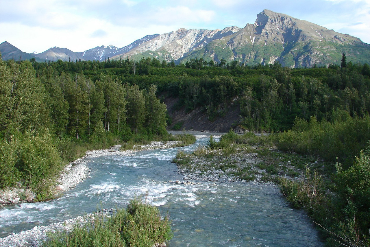 Granite Creek just above its confluence with the Matanuska River, east of Sutton on the Glenn Hwy. The Chugach Mts. providing the backdrop.