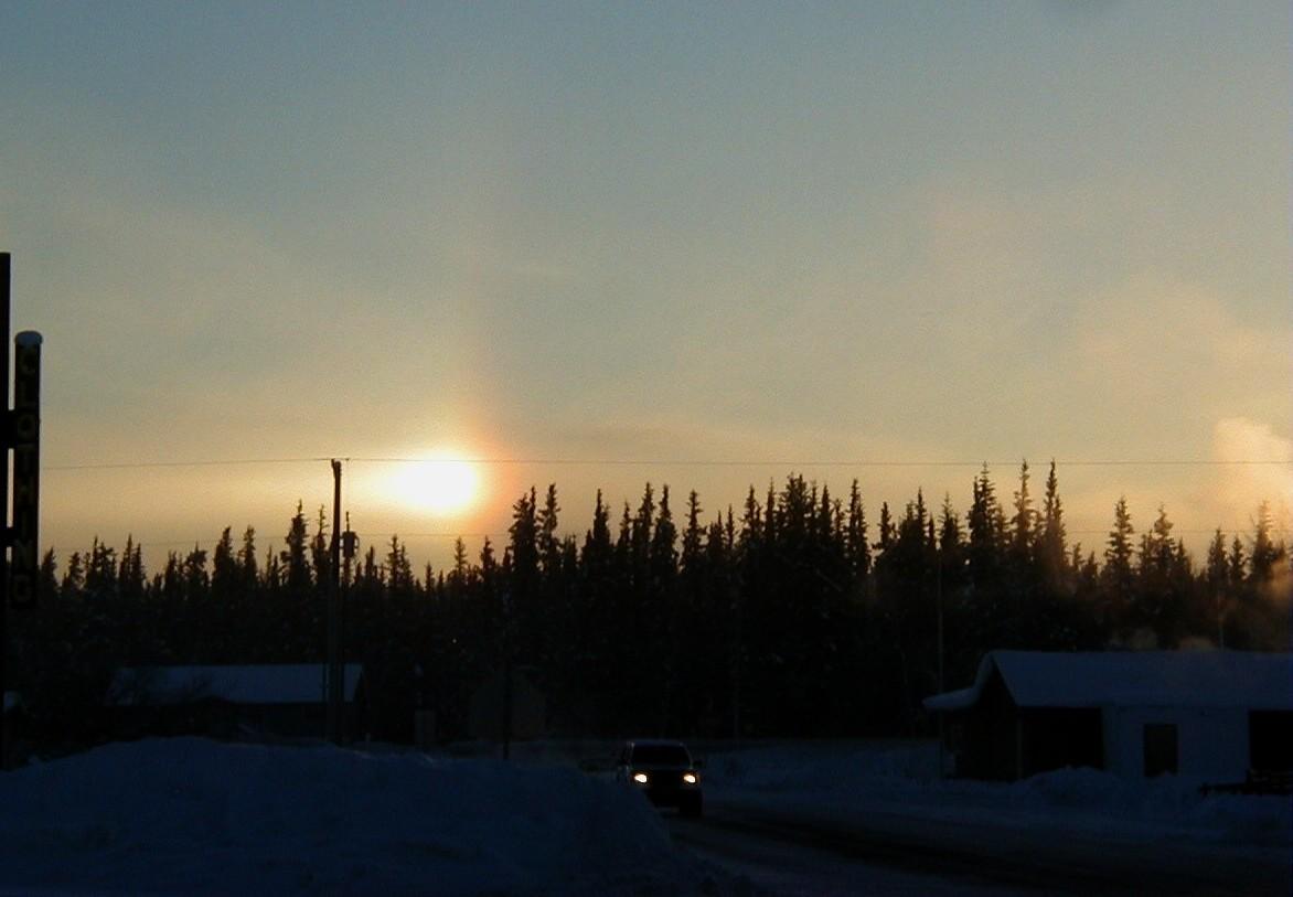 A sun dog in the southern sky, temperature 30 below.