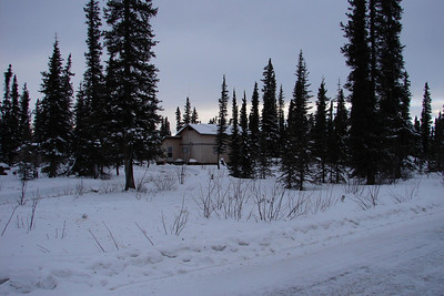 The house as seen from the Nabesna Road.  This photo was taken before powerlines were put in, bringing electricity to the community but requiring removal of many of the trees between the road and the house.  More of them will be gone soon, hopefully to be replaced with a row of birch trees paralleling the road.
