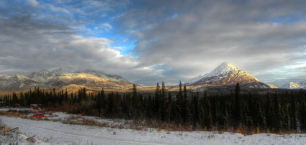 November 26, 2010:  Devil's Mountain, looking across the Ellis's short bush airstrip from in front of the former Devil's Mt. Lodge near the end of the Nabesna Rd.