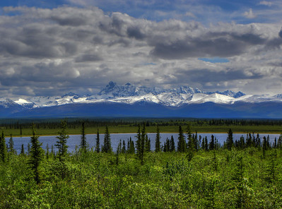 June 18, 2011:  Tanada Ridge over a small lake at about Mile 17 on the Nabesna Road.