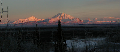 Winter alpenglow on the Wrangell's - Mt Drum center, Mt Sanford on the left, and Alaska's largest volcano, Mt Wrangell, farthest right.