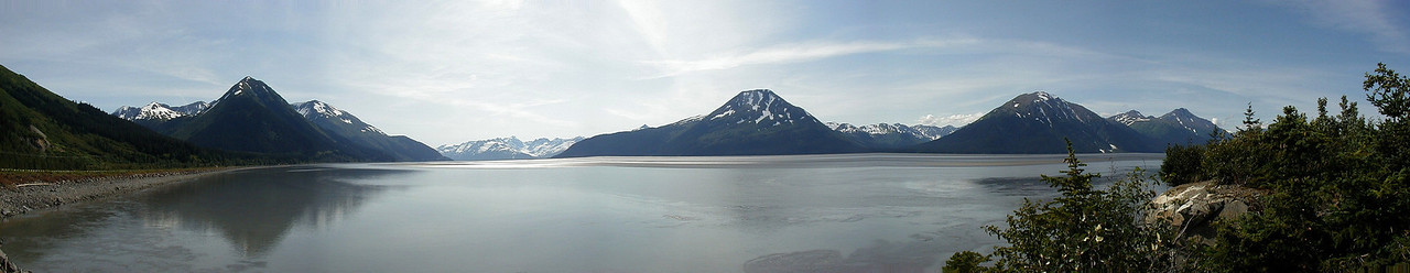 A 180 degree pan of Turnagain Arm, taken from just south of Girdwood, facing the Kenai Peninsula.