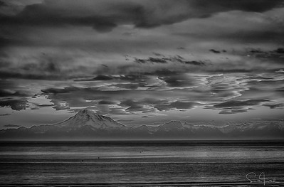 Mt. Redoubt at Sunset (B&W)