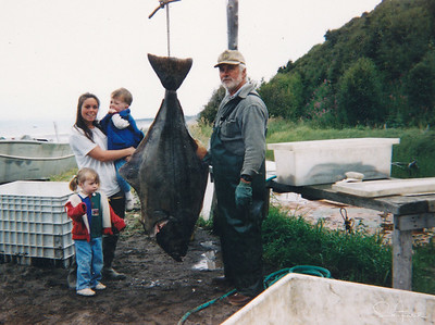 Lars with daughter, Sarah, and grandkids with halibut catch.