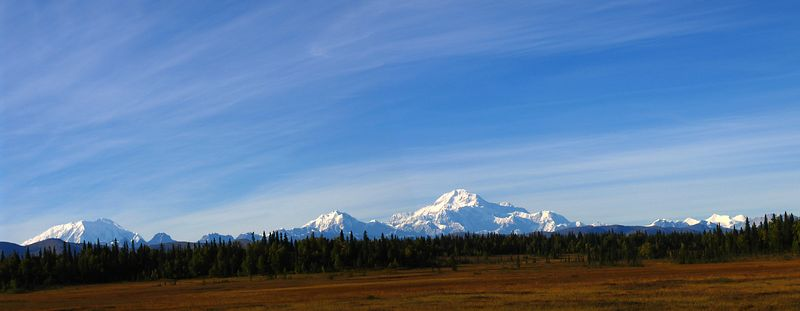 Two shot photo merge of Mt. Foraker (L) and Mt. McKinley (R)