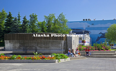 Alaska. Water Fountain at the Alaska Center for the Performing Arts in Town Square.