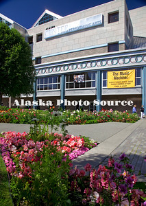 Alaska. Alaska Center for the Performing Arts with the vibrant city gardens in the foreground..