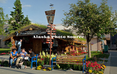 Alaska. Log Cabin and Visitor Information Center, downtown Anchorage.