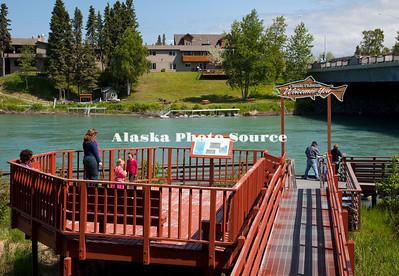 Alaska. Classic Fishwalk along the Kenai River, Soldotna.