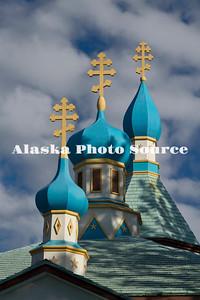 Alaska. Triple cupolas of the Holy Assumption of the Virgin Mary Russian Orthodox Church, Kenai.