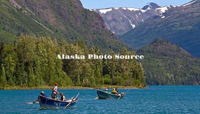 Alaska, Driftboat fishing the Upper Kenai River.