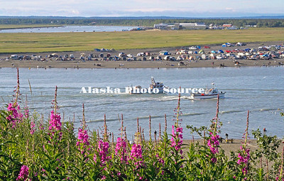 Alaska. View from the Erik Hanson Scout Park, Kenai, of the mouth of the Kenai River during salmon dipnetting and commercial fishing in July.