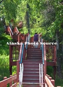 Alaska. Kenai River Classic Fishwalk, stairs returning to Soldotna Visitor Center.