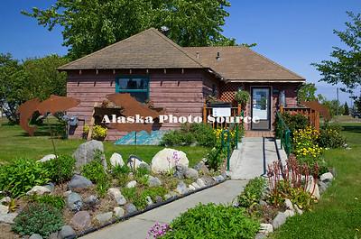 Alaska. Historic Moosemeat John's Cabin located next to the Keani Visitors and Cultural Center, Kenai.