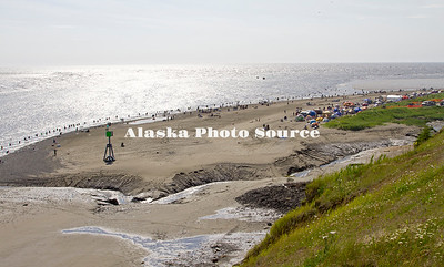 Alaska. An overview look at the salmon dipnetters at the mouth of the Kenai River.