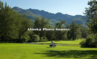 Alaska, Scenic view of Bear Valley Golf Course on Anton Larson Bay Road.