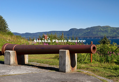 Alaska, Scenic view of Fort Abercrombie State Historical Park displaying WWII canon and other relics.