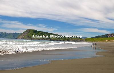 Alaska, Scenic view of beach along the Pasagshak Bay Road on the way to Narrow Cape, Kodiak.