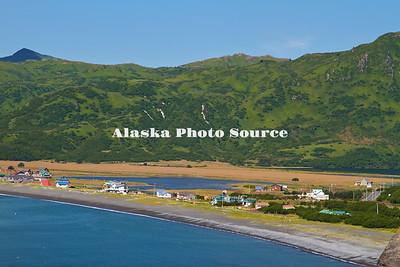Alaska, Scenic view from the community at the head of Pasagshak Bay, Kodiak.