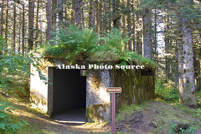 Alaska, Scenic view of Fort Abercrombie State Historical Park displaying WWII artillery and other relics.