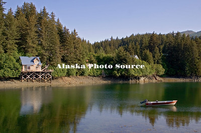 Alaska. Lund anchored at high tide, Seldovia.