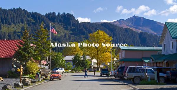Alaska. A sunny autumn day in the life of Seldovia.