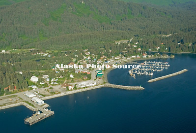 Alaska. Aerial view of Seldovia, with emphasis on the boat harbor, Seldovia Bay.