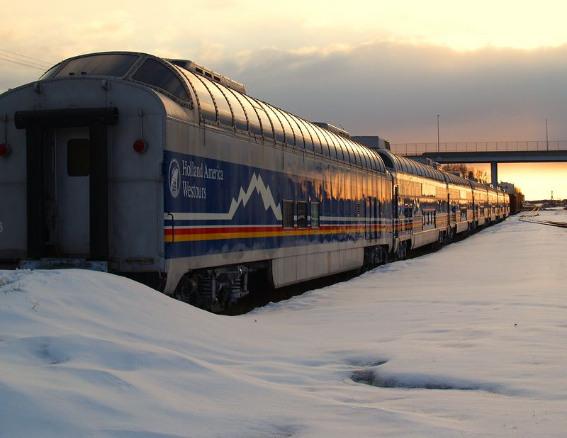 Holland America / Westours passenger cars mothballed for the Winter months. Sunset at the Anchorage Depot.