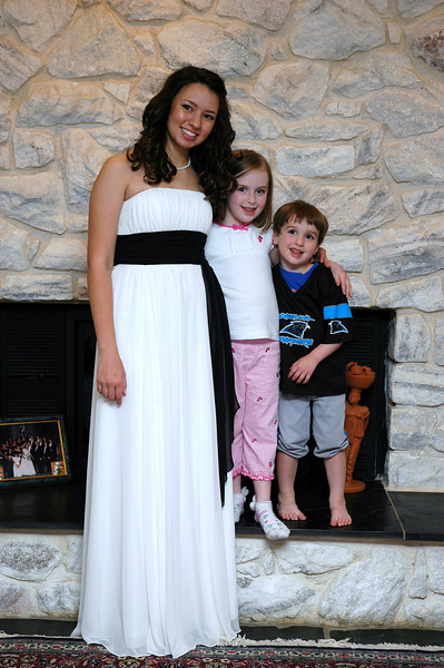 Cousins on Prom night just before high school graduation, with kindergarden grad and nursery schooler!