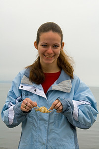 Erin holds a King Crab that washed up from the Bering Sea.  They look so much bigger on TV!