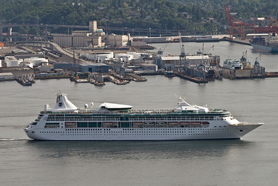 Our ship leaving Seattle with a new cruise group the same day we got back.  I got this picture from the Space Needle that afternoon.